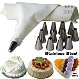 #9: HPK-INDIA STAINLESS STEEL COTTON DIY CAKE DECORATOR ICING BAG WITH 12 DESIGNING NOZZLES