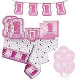 ocballoons Kit Coordinato Tavola Primo Compleanno Rosa 1 Anno (40 Piatti 40 Bicchieri 40 Tovaglioli Tovaglia Festone 25 Palloncini)