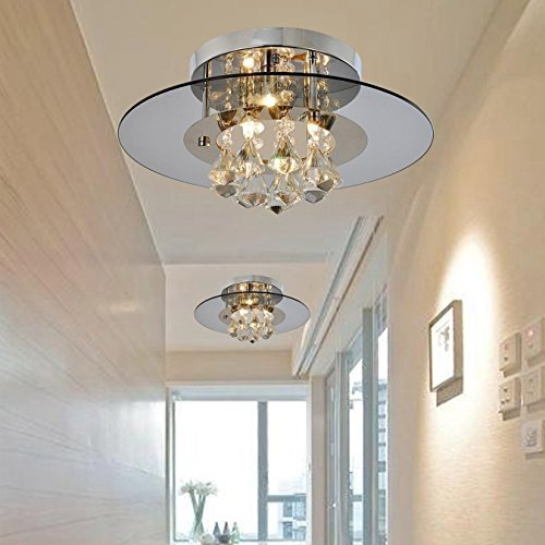 Create For LifeR 3 Lights Chandelier In Round Shape With Hanging Crystal Modern Chandeliers Flush Mount Ceiling Light Dining Room Bedroom