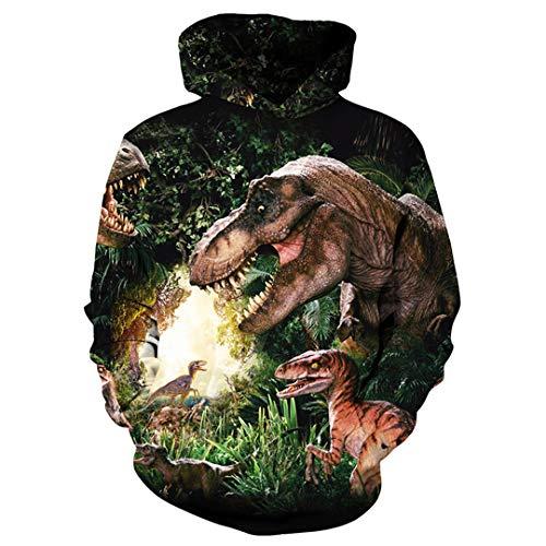 Animals Print Fashion Hoodies Männer/Frauen 3D Dinosaurier Sweatshirt mit Kapuze Hoodies Cap und Taschen Hoody Trainingsanzüge Dinosaur 2 M -