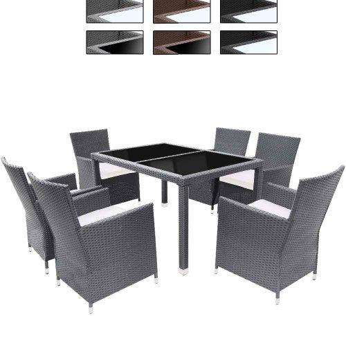 Miadomodo Salotto giardino esterno set tavolo e sedie giardino in polyrattan 13 pezzi modello Classic colore vetro tavolo nero mobili grigio