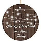 Designsify Merry Christmas The Sims Family – Ceramic Circle Ornament, Ornamento di Natale in Ceramica Decorazione D?Albero di Natale
