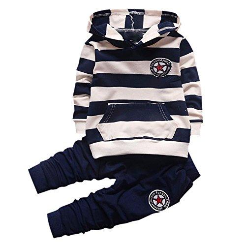 Wongfon Ragazzi Abbigliamento Sportivo Abbigliamento, Ragazzi T-Shirt a Righe con Cappuccio Manica Lunga Tute Pullover + Pantaloni Tuta da Lavoro per 0-4 Anni