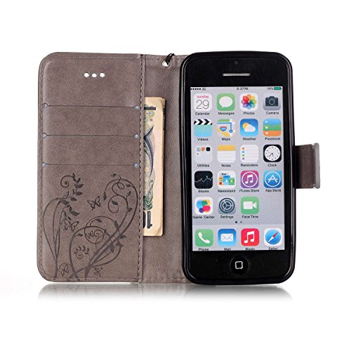 iPhone 5C Hülle,SainCat Apple iPhone 5C Ledertasche Brieftasche im BookStyle PU Leder Wallet Case Lederhülle Folio Reliefprägung Schmetterling Schutzhülle Bling Glitzer Strass Diamant Hülle Bumper Han Schmetterling-Grau