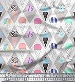 Soimoi Grau Baumwolljersey Stoff Diamant & Eiswaffel Lebensmittel Stoff drucken Meter 58 Zoll breit