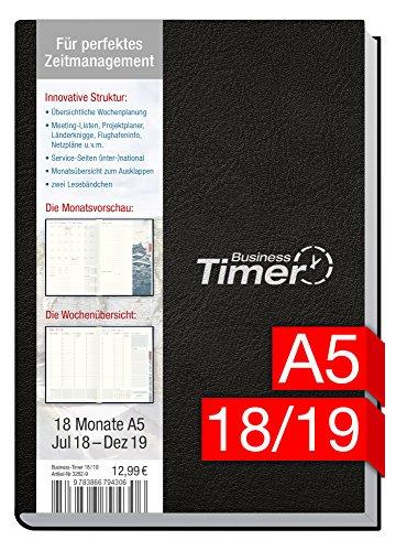 Chäff Business-Timer A5 Kalender 2018/2019 schwarz, 18 Monate Juli 2018-Dezember 2019 - Terminkalender mit Wochenplaner - Organizer - Wochenkalender - Kalendarium für Projektplanung