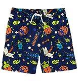 Funnycokid Badehose Kinder Schwimmen Badeshorts Gedruckt Sommer Niedlichen Tier Insekt Jungen Schwimmen Shorts 5-6 Jahre