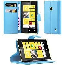Cadorabo - Funda Nokia Lumia 520 Book Style de Cuero Sintético en Diseño Libro - Etui Case Cover Carcasa Caja Protección (con función de suporte y tarjetero) en AZUL-PASTEL