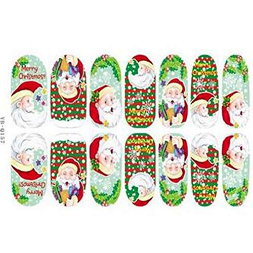 EgBert 3D Weihnachtsbaum Santa Claus Leuchtender Nagel Voll Aufkleber - Yb-Q157 -