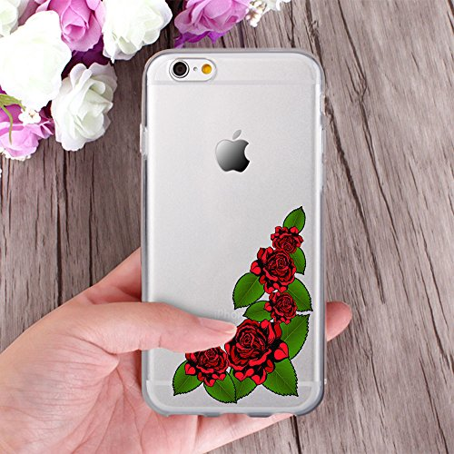 OOH!COLOR® Design Case für iPhone 6 / 6S mit Motiv MPA147 weiß Punkte modisch stilvoll Silikon Hülle elastisch Schutzhülle Transparent Case Luxus Cover Slim Etui NFL060 Rose Stickerei
