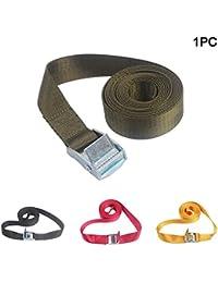 Correa de amarre resistente, con hebilla de bloqueo acolchada para la leva, resistente, para uso con correa de trinquete, para remolque seguro de motocicletas, kayak, Jeep, ATV, UTV (2 m), color verde militar