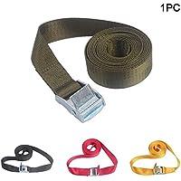 Correa de amarre resistente, con hebilla de bloqueo acolchada para la leva, resistente para uso con correa de trinquete, para remolque seguro de motocicletas, kayak, jeep, ATV, UTV (3 m), color verde militar
