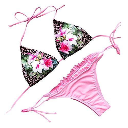 LeeY Damen Sexy Ball Bikini Set Hochdrücken Gepolstert Bademode Strandkleidung Mode Niedrige Taille Halfter Blumen Badeanzug Spielanzüge 2 Stück Sexy Bikini Einstellen (Rosa, S)