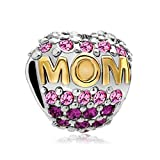 Abalorio en forma de corazón con cristales para el día de la madre, se ajusta a la pulsera de cuentas, de Uniqueen