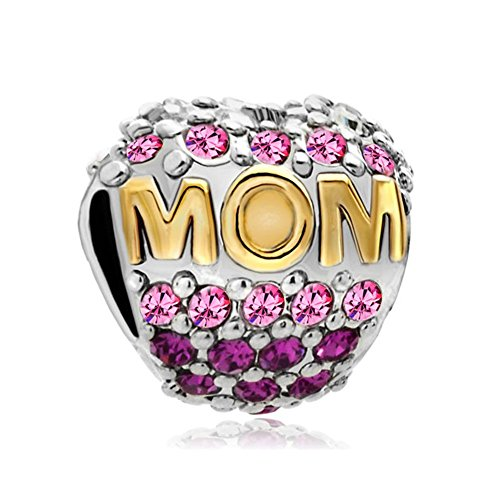 """Uniqueen ciondolo a forma di cuore con scritta """"mom"""" e cristalli, per braccialetti con ciondoli componibili, per festa della mamma"""