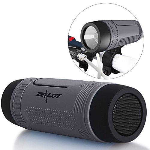 ZEALOT S1 Fahrrad Lautsprecher Wasserdichter Bluetooth Speaker HiFi Musikbox mit Fahrradhaltung, Karabinerhaken und Aux-Kabel unterstützt TF-Karte, Taschenlampe, Freisprech und Powerbank verwendbar für Smartphones und Bluetooth Geräte (Grau)
