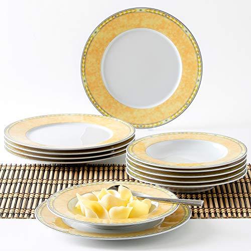 Kahla 45A133M73996A Ghibli Yvonne Gelb Geschirr-Set Porzellanservice weiß gelb Tafelservice Teller für 6 Person 12-teilig Tellerset 6 Suppenteller 6 Speiseteller rund (Weiß China Teller-set Von 12)