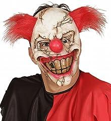 Idea Regalo - WIDMANN 00840 - Maschera Mezzo Viso Killer Clown con Capelli, Adulto