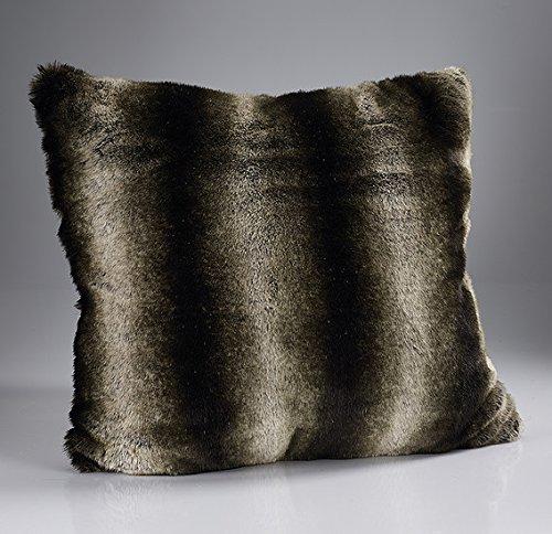 Bedding Direct UK Luxuriöse Wolf Kissen, Webpelz, Gestreift, 45 x 45 cm (Dark Brown Alaska) (- Dark Faux-pelz Brown)
