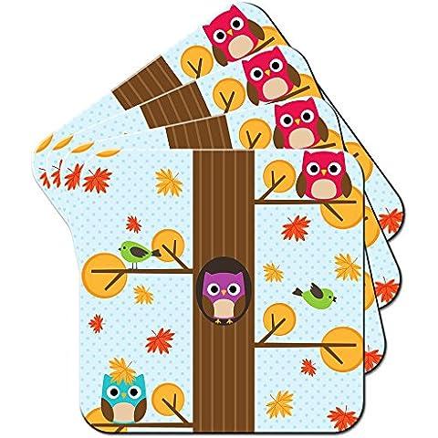 Gufi alta nell' albero/set di sottobicchieri Tops, Acrilico, Autumn Owls Falling Leaves, 6 x Coaster - Autumn Falling Leaves