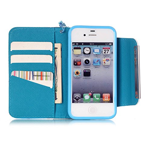 iPhone 4S Hülle,iPhone 4 Hülle,iPhone 4S 4 Lederhülle,iPhone 4S 4 Handyhülle,ikasus® Groß Magnetic Buckle Handyhülle iPhone 4S / iPhone 4 Ledercase Tasche Hüllen Brieftasche Bunte Gemalt Malerei Muste Blaue Ananas Blumen