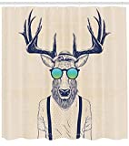ABAKUHAUS Corna Tenda da Doccia, Illustration of Deer Dressed Up Like Cool Hipster Fashion Creative Fun Animal Art, Colorı Definiti su Tessuto, 175 X 200 cm, Beige