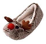 Damen/Mädchen Hausschuhe Warme Pantoffeln Rentier Witzige Geschenk-Idee 36-42 (40, Braun)