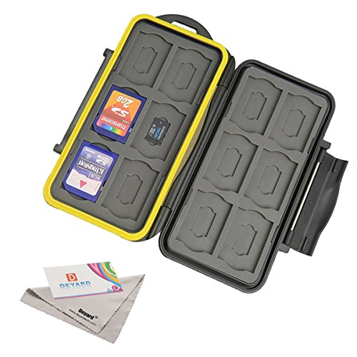 Deyard K020 Wasser und Stossresistentes Speicherkarten-Case: 24 Plätze für 12 SDHC / SDXC Cards und 12 Micro SD Karten - Erneuerter gummiüberzogener Schutz Test