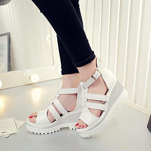 Damen Sandalen mit Keilabsatz Schnalle Klassische Anti-Rutsch Elegante Leichtgewicht Damen Sandalen Weiß