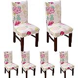teerfu 6Pack Stuhl Bezüge abnehmbarer Stretch Spandex Esszimmerstuhl Displayschutzfolie