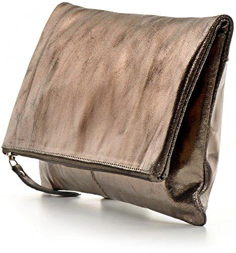 CNTMP, Borsa da Donna, Clutch, Borsa a Mano, Pochette, Borsetta da Sera, Effetto Metallico, Con Tasca in Pelle, 32x17x2,5cm (L x H x P) antracite