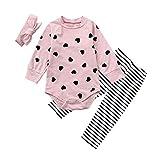 DAY8 Vêtement Bébé Fille Hiver Ensemble Bébé Fille Naissance 0-24 Mois Pyjama Fille Manche Longue Body Automne Haut Combi Barboteuse Combinaison + Pantalon + Bandeaux (70(0-6 Mois), Rose)