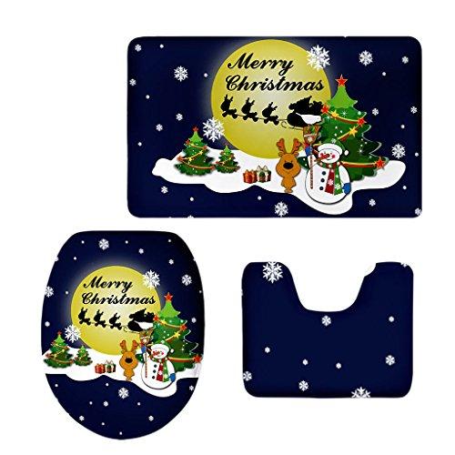 ELECTROPRIME Bath Mat Toilet Cover Bathroom Christmas Non-Slip Pedestal Rug 3Pc/Set #6