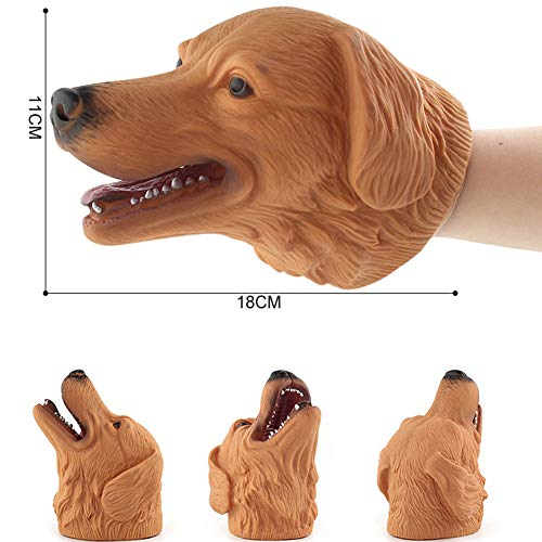 Rabugogo 13-17cm Simulate Animal Hand Puppet Head Hand Puppet Playing Fun Toy for Halloween Prop Home Party Kids Gift(A18 Dog)