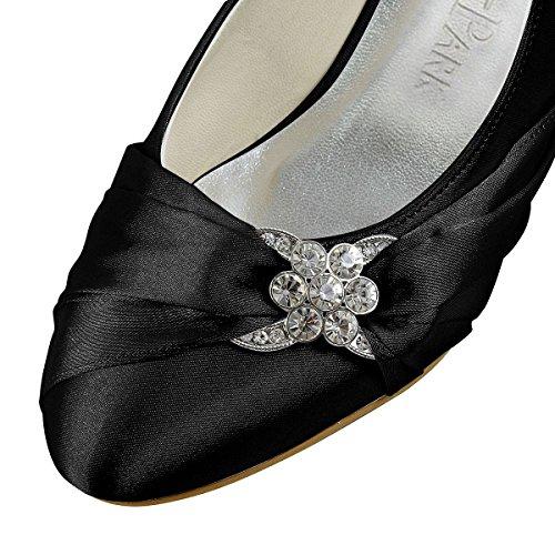 ElegantPark EP2006L Scarpe da sposa tacco basse scarpe chiuse donna Nero