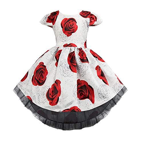 der Rose Blumenmädchen Pageant Kleid Mädchen Cap Sleeves Elegante Prinzessin Party Kleid Kinder Spitze Hochzeit Brautjungfer Kleid Party Hochzeit Brautjungfer Prinzessin Dress ()