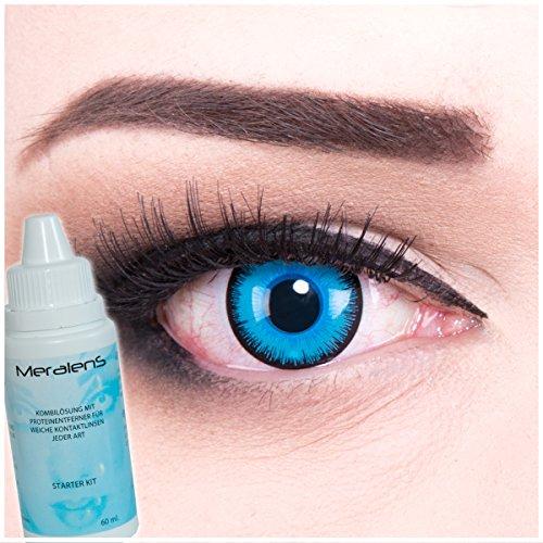 Farbige Kontaktlinsen Alper blau + 60ml Pflegemittel + Behälter - Funnylens Markenqualität, 1Paar (2 Stück) farbige lenses perfekt zu Halloween, Karneval, Fasching oder Fastnacht
