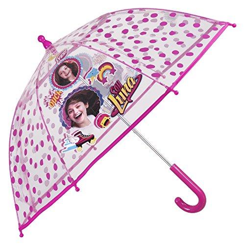 Paraguas Disney Soy Luna de Niña - Paraguas transparente de burbuja resistente antiviento y largo - Apertura de seguridad - 3-6 Años - Fucsia - Diámetro 64 cm - Perletti