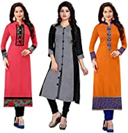 RAMDEV Women's cotton straight Kurta (Pack of 3) (Combo Kurti For Girl1_ Multi_ Free S