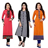 Ramdev Women's Cotton Semi-Stitched Combo Of 3 Kurti (Multicolor_Free Size) 2