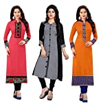 Ramdev Women's Cotton Semi-Stitched Combo Of 3 Kurti (Multicolor_Free Size) 1