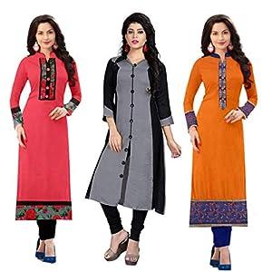 Ramdev Women's Cotton Semi-Stitched Combo Of 3 Kurti (Multicolor_Free Size) 1