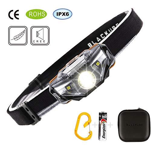 Blackube LED Stirnlampe Kopflampe Wasserdicht Leichtgewichts Mini Head Torch -7 Leuchtmodi Perfekt fürs Laufen Jogging Campen Radfahren