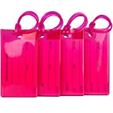 4 Pack TravelMore Luggage Tags for Suitcases, Flexible Silicone Travel ID Identification Labels Set for Bags & Baggage - Hot Pink