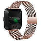 Komise doux et confortable Milanaise Boucle Bracelet en acier inoxydable magnétique pour Fitbit inverse, longueur: 5,5–17cm Taille unique rose gold