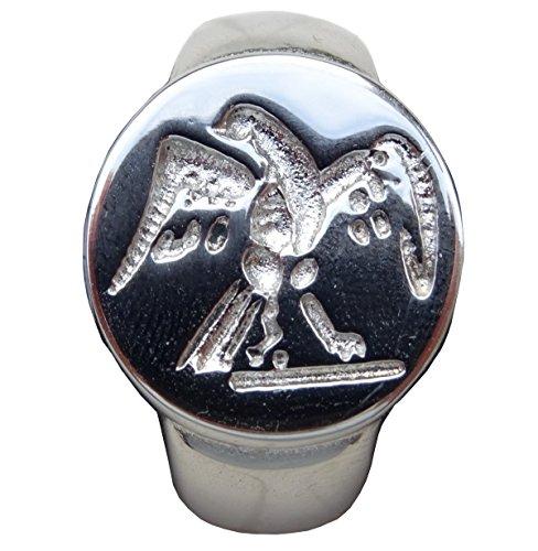 Schöner Ring-Dichtung Adler Roman Legion Größe 68 Silber-Finish.