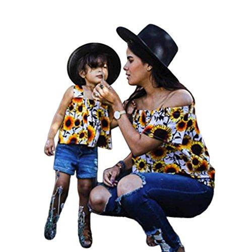 Mutter und Tochter T-shirt, Oyedens Partnerlook Familie Shirtkleid Mom & Me Mädchen Kurzarm Brief T-shirt Bluse Familie Kleidung Niedlichen Sommer Tops Knopf Baby Outfit