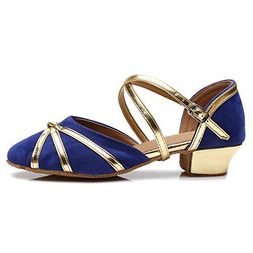 Hipposeus Zapatos De Baile Para Salón De Baile De Mujeres Y Niñas / Zapatos De Salón / Zapatos De Baile De Raso Estándar Latino, Modelo-it119 Azul