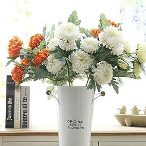 QYYDGH Retro Elegante Hermoso 5 Cabezas Flores de Seda Crisantemo Flores Artificiales Maravillas Otoño Boda Decorativas Caseras Falsas Plantas Ramas