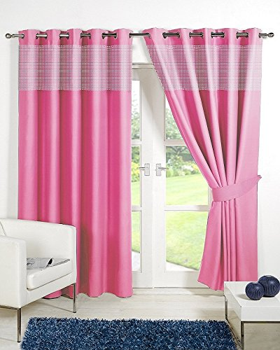 "Pair of PINK 66"" Width x 54"" Drop , Childrens Kids Gingham Thermal Eyelet / RingTop BLACKOUT Curtains INCLUDING PAIR OF MATCHING TIE BACKS, 'Winter Warm but Summer Cool' by VICEROY BEDDING"